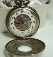 Hong Kong Wilon, bronze, retro, transparency, mechanical pocket watch 4480
