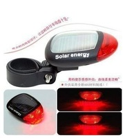 1pcs Free Shipping bike light waterproof Red LED Solar Power Bicycle Rear Light