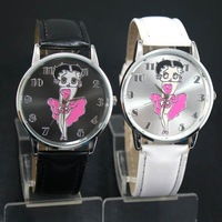 Free Shipping! 2PCS Sexy Betty Boop Womens Ladies Girls Quartz Wristwatch Watches, BP1-BKWT