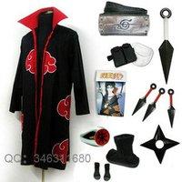 Naruto Akatsuki Uchiha Itachi Cosplay Costume Robe Whole Set   Free Shipping