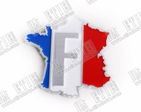 France 3 colors 3D vehicle-logo Car sticker\3d car logo sticker\Guaranteed 100%\Stereo feeling\customize\League\
