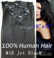 "18""x32"" CLIP IN HAIR EXTENSIONS REMY HUMAN HAIR EXTENSION natural BLACK #1B 7pcs/set 70g 5sets/lot"