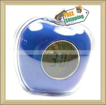 Free Shipping Wholesale,Alarm Clock/Apple Desktop Talking Digital Alarm Clock with Thermometer Blue,10pcs/lot-JE020BU