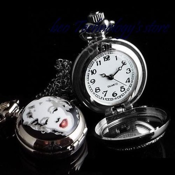20 pcs wholesale Fashion vintage actress Marilyn Monroe women's lady's necklace pocket watch free shipping gift mix orders