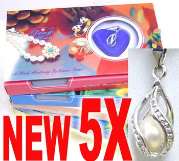 SALE popular day gift Wholesale Lot of 5 Boxes helix pendant Wish Pearl Necklace-Waiting come true-who120 Free shipping