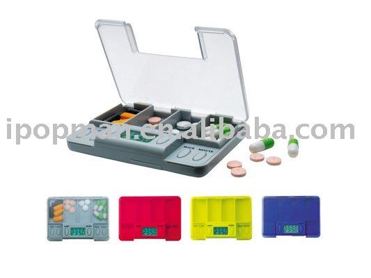 Caja de la píldora del temporizador; rectangular- mirada caja de la