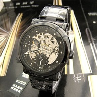2010 New! IK brand watches, all black, hollow, transparent, personality,automatic mechanical male watches 98161H
