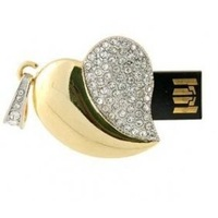 Hot sell free shipping  4GB Crystal Heart USB Flash Drive (Golden)