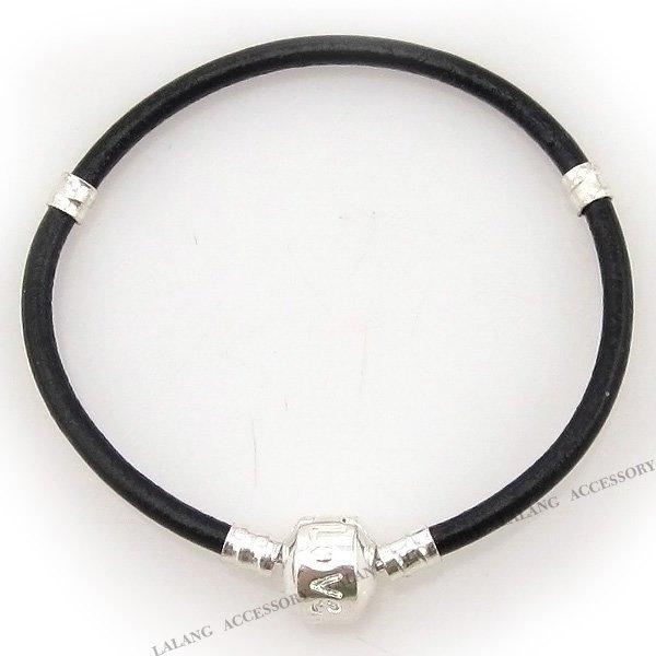3 strips lot black leather charms bracelets fit european