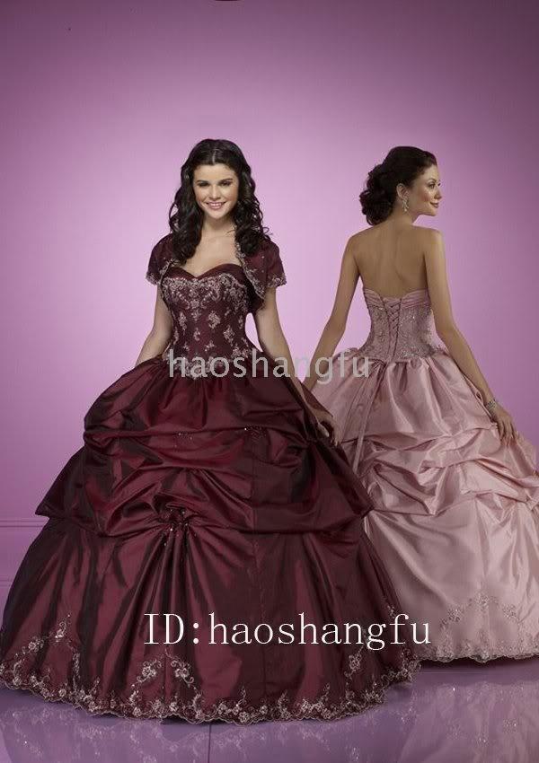 Ball Dress Gown Maroon Taffeta Applique Beads Bridal Wedding Dress Wedding