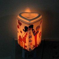 Free shipping/ lovelty led night light/ 5pcs/lot heart shaped ceramics night light