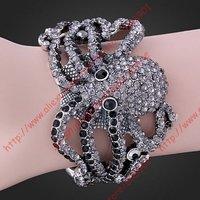 Free shipping Mix-order 5 pc/lot black Rhinestone Crystal Octopus White GP Bracelet Cuff