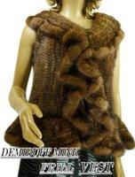 Free shipping - fashion brown mink fur vest,ladies' fur garment,fashion fur coat ,Warm fur overcoat,size:Free