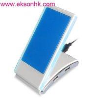 Wholesale Folding Mobile Holder Hi Speed 2.0 USB Hub+Blue LED Light +Usb Holder+cellphone Charger+Christmas Gifts+ Free shipping