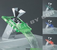 RGB LED LIGHT GLASS WATERFALL FAUCET KITCHEN BASIN BATHROOM SINK MIX TAP FAUCET 26*22*19.5cm 935g