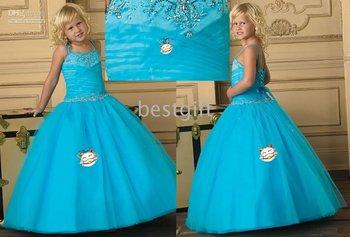 Halter Style blue Flower Girl Pageant Wedding Dress Size2-10 w20