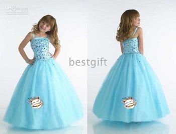 Light Blue Flower Girl Party /Pageant //Handmade Dress &7 Hot Sell 2010