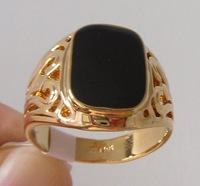 Ring. Jewelry.Block Onyx 18 KGP Yellow Gold Ring. Free shipping.Gift insurance. Provide tracking numbers.