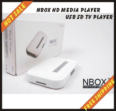 Free shipping----NBOX Digital Media Player For USB Drives Receiver Nbox HD Media Player USB SD TV Player N BOX for Home Theater(China (Mainland))