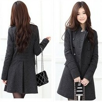 Free shipping-2010 New Women  Double-breasted wool coat / stand-collar coat