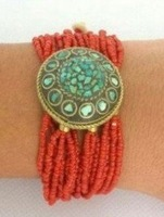 "7.5"" Tibet Red Coral Bead Turquoise Bracelet shipping free"