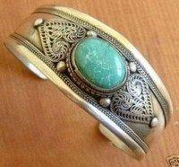 Unusual turquoise tibet silver men bracelet shipping free