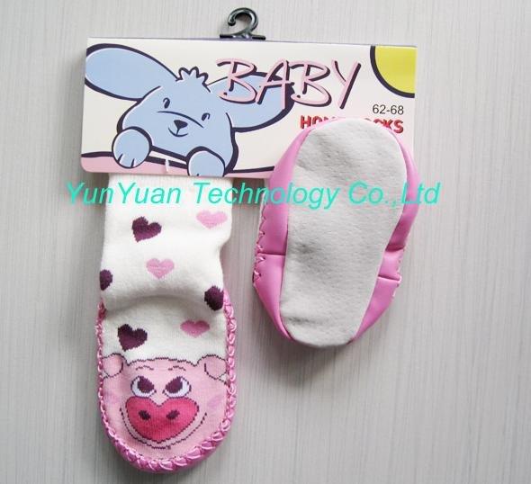 Bebê atacado meias meias casa de chão com couro inferior 60pairs / lot + frete grátis venda quente(China (Mainland))