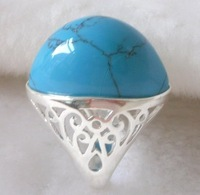 Ring.Size U(10).Free shipping.Gift insurance. Provide tracking numbers. Turquoise Silver plating Ring.Fashion jewelry.