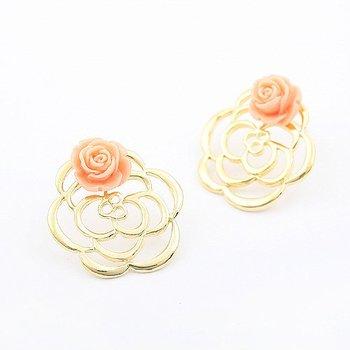 guaranteed 100%,earring jewelry, Air Double Rose Earrings,3pcs/lot