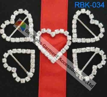 Free shipping  300pcs/lot  Heart Rhinestone Buckles
