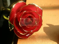 +gift packaging+free shipping+12inch length real rose dipped in 24k gold for Valentine's Day Gift