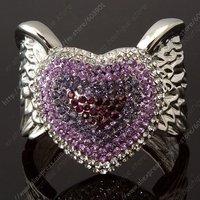 Free shipping mix-order 6pc/lot purple heart Rhinestone Crystal Angel's Wings  White GP Bracelet Cuff
