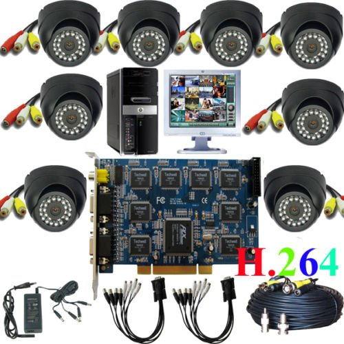 CCTV DVR 8 channel PC based card IR camera home security system(China (Mainland))