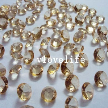 Free shipping&500 10mm 4CT Gold Shadow Diamond Confetti Wedding Decoration