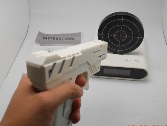 Novelty Laser Gun Target Alarm clock,Gun Alarm Clock,creative clock,free shipping(China (Mainland))