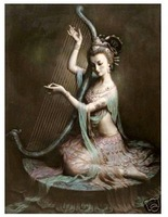 100% handmade Oil Painting:fairy Playing instrument Guaranteed 100% Free shipping