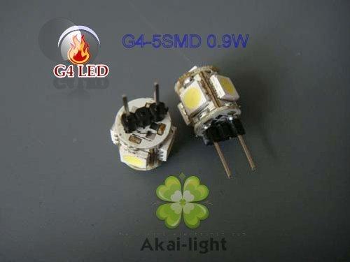 Wholesale Top-sale g4 led -5SMD LED light bulb lamp 5050SMD 0.9W(20pcs/lot free ship)