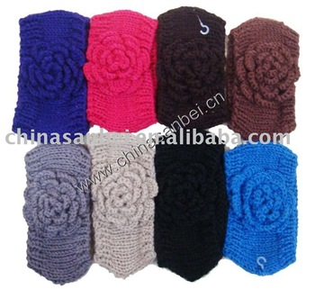 Handmade knit head wrap headdress Flower headband