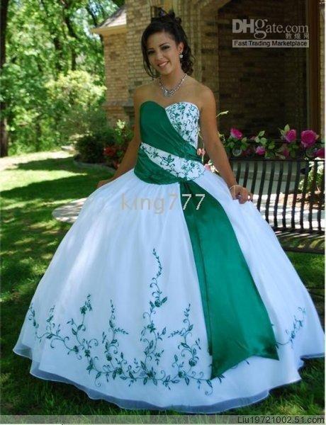 Бело зеленое свадебное платье