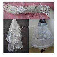 Charm wedding accessories wedding decoration wedding dress gloves, veil . pannier , three-piece