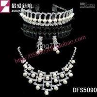 three sets DFS5090 Hot * bride necklace Crystal Necklace bride sets chain bride jewelry