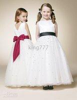 chiffon two-piece(2piece /lot) Beautiful white dress with flower girl shoulders Kids,