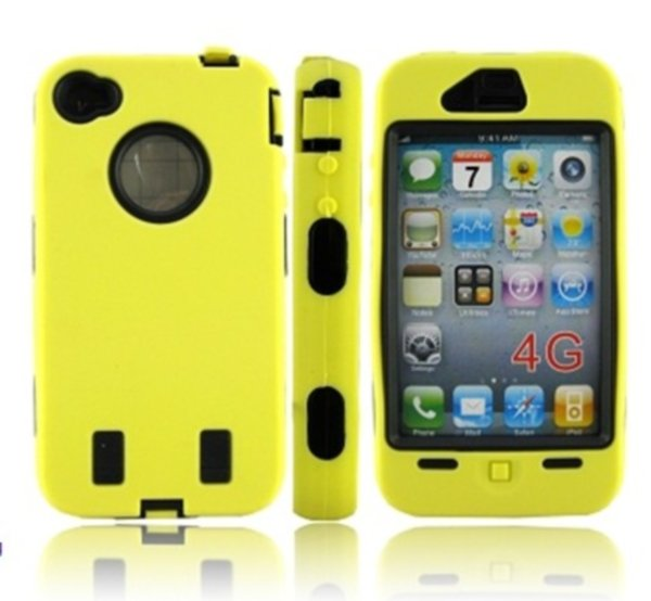 HOT Sale Shock Proof Hard Silicone Cover Case For iphone 4 4th 4G Mobile Phone Case yellow+ Free Shipping(China (Mainland))
