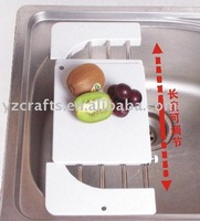 Stainless Steel Retractable Drain Rack + Cutting Board