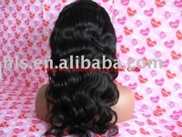 "free shipping- Fashion brazilian virgin hair 18"" body wave natural color full lace wig"