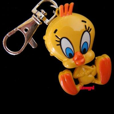 "Free shipping 50pcs/lot Lovely ""Tweety Bird"" Pocket Key Ring Watch Xmas Gifts(Hong Kong)"