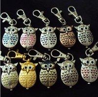 Free shipping  40pcs/lot Mixed Bulk 10 Color Owl KeyRing Watch  Xmas Gifts