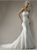2011 New Style A-line Strapless  Floor-length Beaded Organza  Wedding Dress(Free shipping)