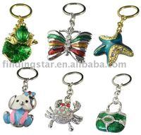FREE SHIPPING 12PCS Mixed Fashion enamel crystal keychain M19944