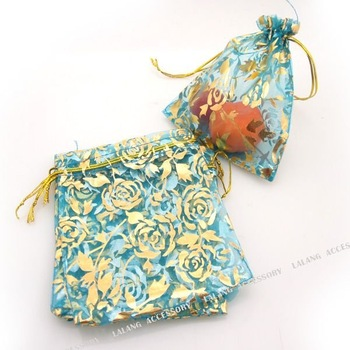 150x Dark Blue with Gold Rose Wedding Gift Organza Pouches Bags 10x12cm 120195